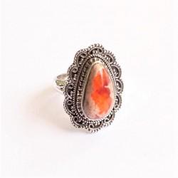 Opale de feu bague Argent