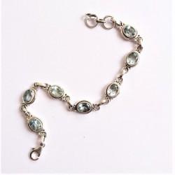 Topaze bleue bracelet Argent