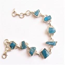 Apatite bleue bracelet Argent
